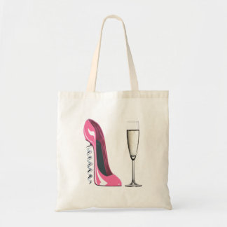 Pink Corkscrew Stiletto Shoe and Champagne Glass Budget Tote Bag