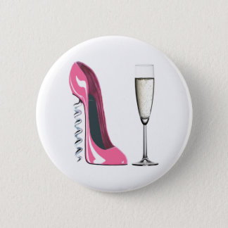 Pink Corkscrew Stiletto Shoe and Champagne Glass Button