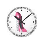 Pink Corkscrew Stiletto Shoe Wall Clock