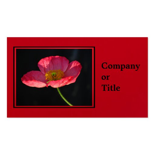 Pink Corn Poppy Business Cards