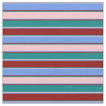 [ Thumbnail: Pink, Cornflower Blue, Dark Red & Teal Stripes Fabric ]