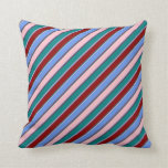 [ Thumbnail: Pink, Cornflower Blue, Dark Red & Teal Stripes Throw Pillow ]