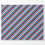 [ Thumbnail: Pink, Cornflower Blue, Dark Red & Teal Stripes Wrapping Paper ]