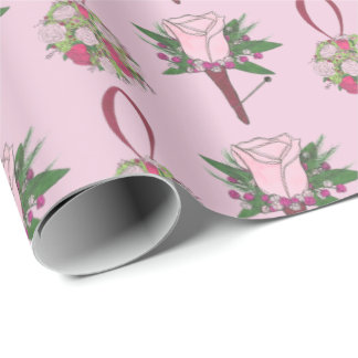 Pink Corsage Boutonniere Bouquet Rose Wedding Wrap Wrapping Paper
