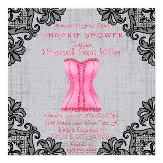 Pink Corset & Black Lace Lingerie Bridal Shower Card