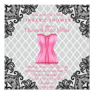 Pink Corset & Black Lace Lingerie Bridal Shower Personalized Invitation