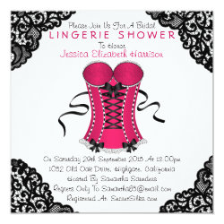 Pink Corset & Black Lace Lingerie Shower Invitation