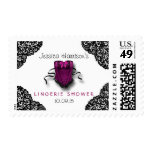 Pink Corset & Black Lace Lingerie Shower Postage Stamps