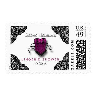 Pink Corset & Black Lace Lingerie Shower Postage