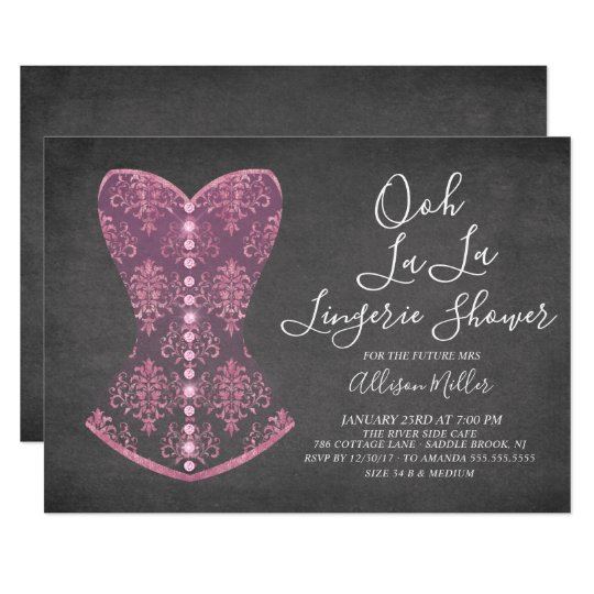 Pink corset lingerie bridal shower invitation zazzle pink corset lingerie bridal shower invitation filmwisefo