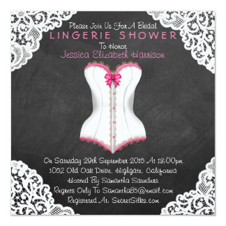 Pink Corset White Lace Chalkboard Lingerie Shower 5.25x5.25 Square Paper Invitation Card