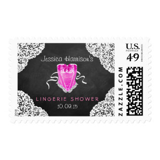 Pink Corset White Lace Chalkboard Lingerie Shower Postage Stamp
