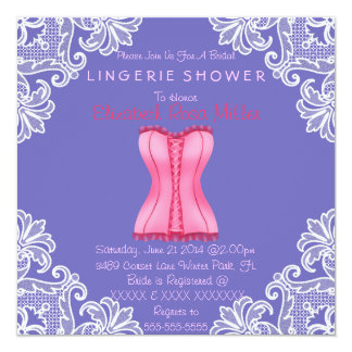 Pink Corset & White Lace Lingerie Bridal Shower Card