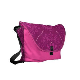 Pink Cosmic Damask Messenger Bag