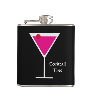 Pink Cosmo Martini Glass Cocktail Time Custom Word Flasks