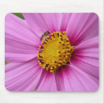 Pink Cosmos and Bee Pretty Wildflower Mouse Pad