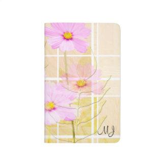 Pink cosmos cosmo flower cream yellow background journal