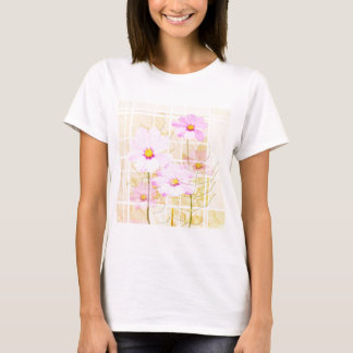 Pink cosmos cosmo flower cream yellow background T-Shirt