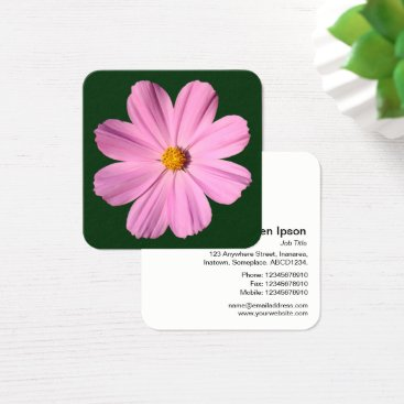 Professional Business Pink Cosmos - Dark Green Square Business Card