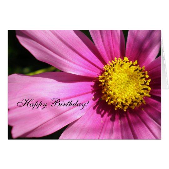 Pink Cosmos Flower Happy Birthday Card