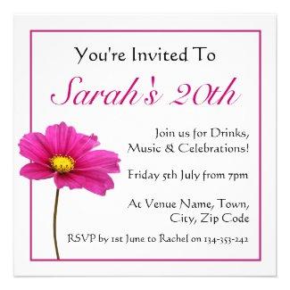 Pink Cosmos Flower Invitation