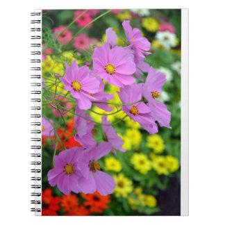 Pink cosmos flower print notebook