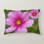 Pink Cosmos Flowers Accent Pillow