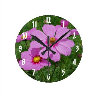 Pink Cosmos Flowers In Bloom Clocks