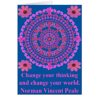 Pink Cosmos Mandala with Peale quotes as Card