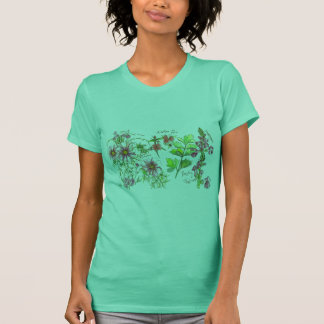 Pink Cosmos Snapdragon Nature Sketch T-Shirt