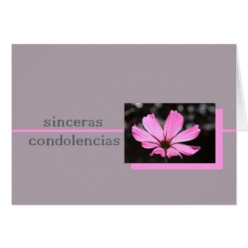Pink Cosmos Spanish Sympathy Card Zazzle