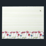 "Pink Cosmos Watercolor Flowers Honey Bees Lined Notepad<br><div class=""desc"">A pretty lined notepad decorated with a row of bright pink cosmos flowers and honey bees buzzing by drawn in black pen and ink with watercolor.</div>"