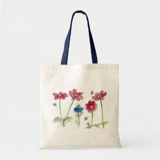 Pink Cosmos Watercolor Flowers Honey Bees Tote Bag