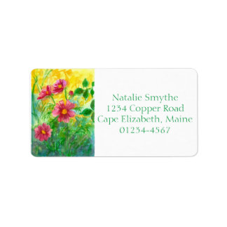 Pink Cosmos Watercolor Flowers Painting Label