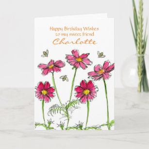 Pink Cosmos Watercolor Flowers Personalized Name Card