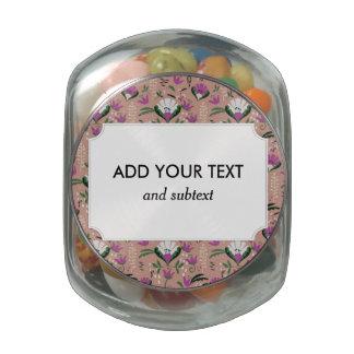Pink Cottage Folk Floral Glass Jar