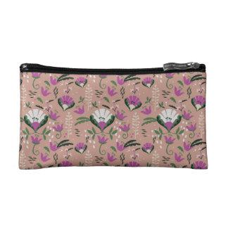 Pink Cottage Folk Floral Makeup Bag