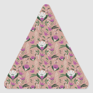 Pink Cottage Folk Floral Triangle Sticker