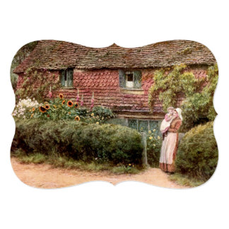 Pink Cottage Mother and Child Card