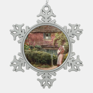 Pink Cottage Mother and Child Snowflake Pewter Christmas Ornament