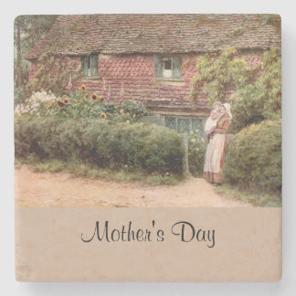 Pink Cottage Mother and Child Stone Coaster