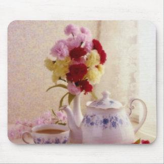 Pink Cottage tea set flowers Mousepad