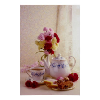Pink Cottage tea set flowers Poster