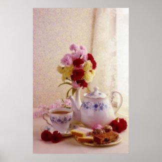 Pink Cottage tea set flowers Poster