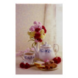 Pink Cottage tea set flowers Posters