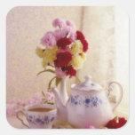Pink Cottage tea set flowers Square Sticker