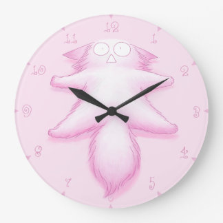Pink Cotton Candy Cat Large Clock