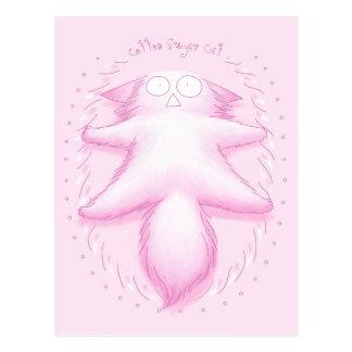 Pink Cotton Candy Cat Postcard
