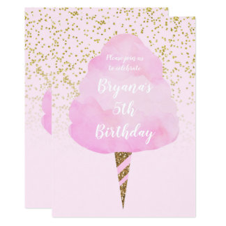 Pink Cotton Candy & Gold Confetti Birthday Party Card