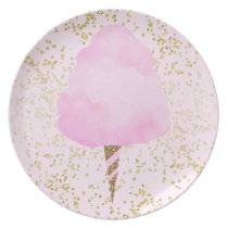 Pink Cotton Candy & Gold Confetti Birthday Party Dinner Plate